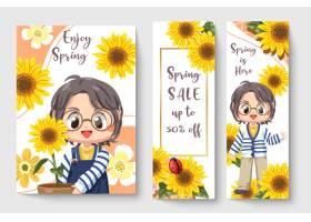 春天甜美的向日葵女孩为儿童时尚艺术品提供_13554810