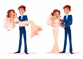 新婚男女结婚插图为贺卡模板_3090717