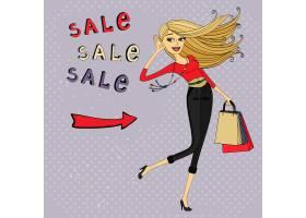 时尚促销广告拎着包的购物女_1528670