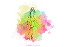 时尚女孩的素描五颜六色的油渍_753840