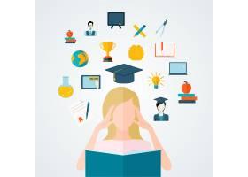 年轻女学生阅读带有教育和学习思想的书的矢_4348132