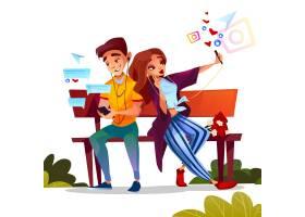 年轻情侣约会插图少年男女手持鲜花坐在长凳_3264799