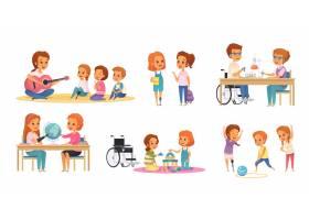 彩色和卡通融合全纳教育图标与残疾儿童学习_7251193