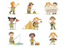 快乐的孩子们穿着童子军服装为网页设计做_12699105