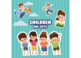 带有儿童节概念设计的卡通贴纸_10692057