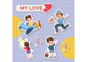 带有儿童节概念设计的卡通贴纸_10695600
