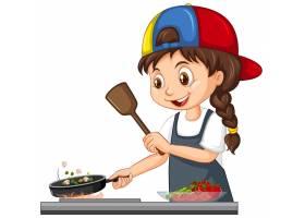 可爱的女孩角色戴着帽子做饭_13374414