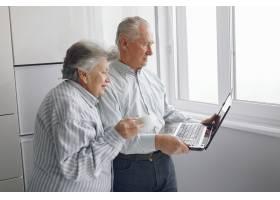 优雅的老两口在家里使用笔记本电脑_7376600