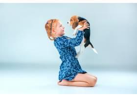 灰墙上快乐的女孩和一只小猎犬_7540146