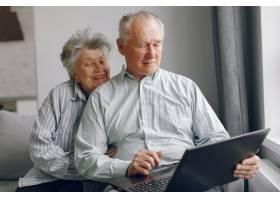 优雅的老两口坐在家里用笔记本电脑_7376583