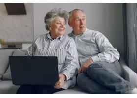 优雅的老两口坐在家里用笔记本电脑_7376586