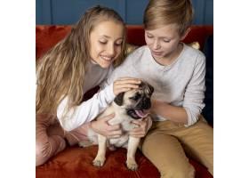 兄弟姐妹们花时间和他们的狗在一起_6748748