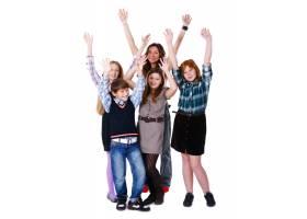 一群可爱快乐的孩子在白色背景上摆姿势_6286033