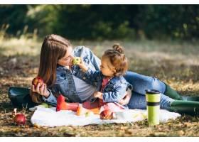 一位年轻的母亲带着她的小女儿在秋季公园野_5852226