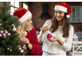 中景笑容满面的母女俩装饰圣诞树_5750120