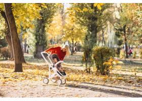 秋天年轻的母亲带着小女儿在公园散步_6255225