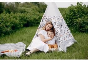 母亲带着儿子在夏日的田野里玩耍_5252215