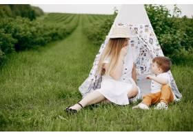 母亲带着儿子在夏日的田野里玩耍_5252220