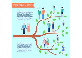 透明背景下树形人物和文字的扁平式家庭海报_2869225