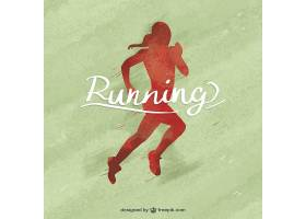 红色女子奔跑剪影的水彩背景_968190
