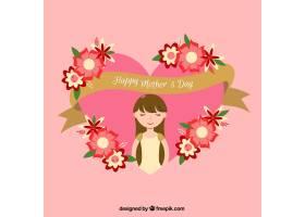 扁平的背景金丝带和鲜花为母亲节做好了准_1080024