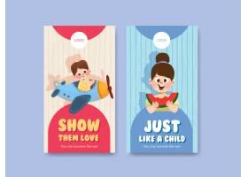 带有儿童节概念设计的Instagram模板_10691937