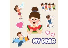 带有儿童节概念设计的卡通贴纸_10692051