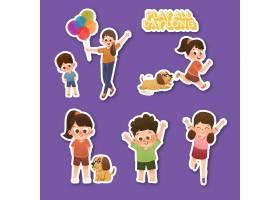 带有儿童节概念设计的卡通贴纸_10695724