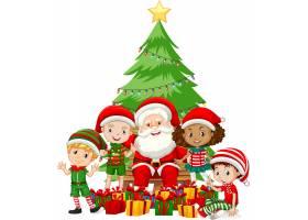 带着孩子的圣诞老人穿着圣诞服装的卡通人物_12337455
