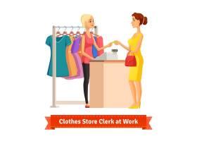 店员从美女处收取信用卡付款_1310992
