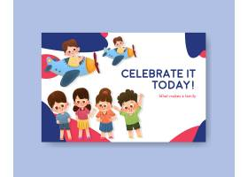 带有儿童节概念设计的Facebook模板_10691921