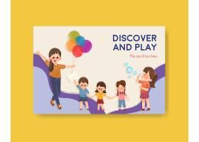 带有儿童节概念设计的Facebook模板_10691929