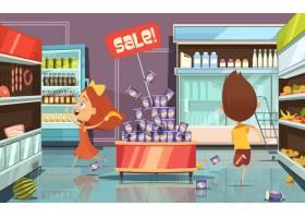 在商店里带着乱七八糟的食物和饮料跑孩子卡_3998262