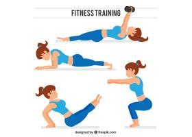 做伸展运动和其他运动的妇女的集合_969093