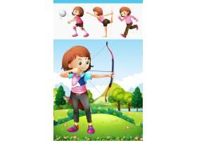 做射箭和其他体育插图的女孩_1164296