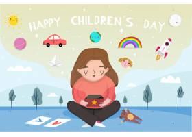 与女孩手绘儿童节背景_5914016