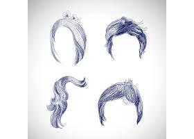 一套不同头发和发型的素描_9711791