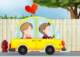 一对在黄色汽车里相爱的情侣_7042788