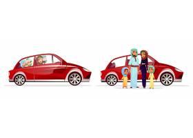 阿拉伯家庭汽车插图阿拉伯卡通人物的父母_2703457