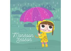 雨衣和雨伞女孩的复古背景_1228940