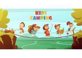 露营儿童背景配有悬崖谷和桥的卡通矢量插_3998276
