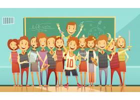 经典学校教育教室复古卡通海报孩子们站着_4188528