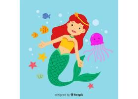 美丽的美人鱼肖像平面设计_4729721