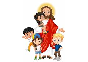 耶稣和一个儿童卡通人物_10004731