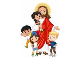 耶稣和一个儿童卡通人物_10107830