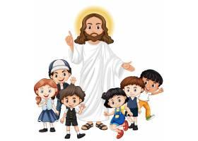 耶稣和一个儿童卡通人物_11701866