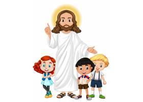 耶稣和一个儿童卡通人物_9938662