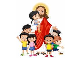 耶稣和一个儿童卡通人物_9938695