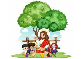 耶稣给一个儿童团体的卡通人物讲道_11405436