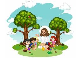 耶稣给一个儿童团体的卡通人物讲道_9721313